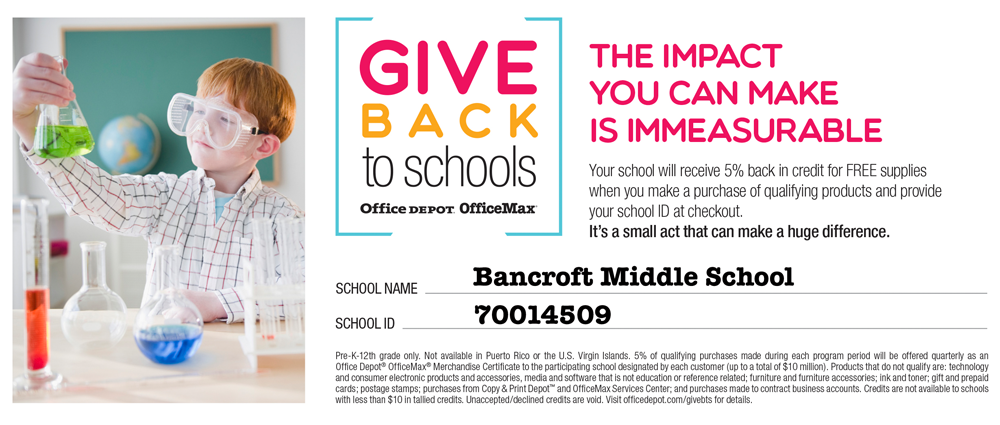 office depot office max give back to schools bancroft